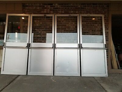"Commercial Tempered  Glass Doors Atlas ""used"" 4 Pivoting Doors"