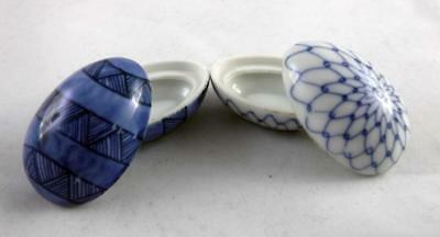 2 Fitz and Floyd Covered Egg Trinket Boxes Blue and White