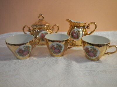 Coffee Set 24 KT Gold Layered Fragonard's Courting Couple