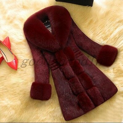 2016 New Womens Faux Fur Coat Collar Slim Fit Mid Long Winter Warm Parka Jackets