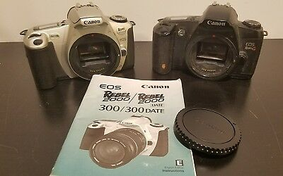 Lot of Canon EOS Rebel G and EOS Rebel 2000 35mm Black Camera Body - Untested