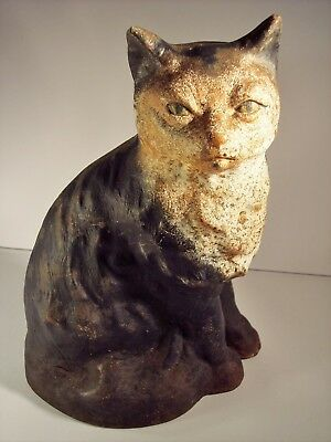 Antique Stunning Cast Iron Cat Art Statue Sculpture Doorstop