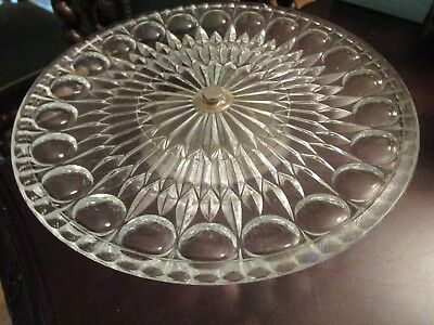 """Vintage Mid Century Pressed Clear Glass Silverplate Foot 3 X 11"""" [*4Glass Trays"""