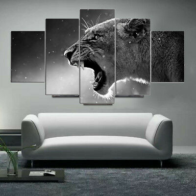 5 Panels HD Canvas Wolf Tiger Painting Prints Home Room Picture Art Wall Decor
