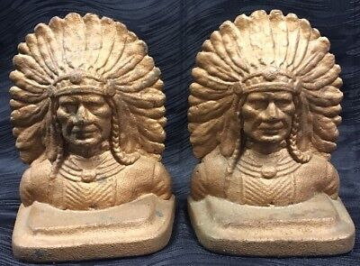 Rare Vtg Set Of Indian Chief Head Bookends Cast Iron Bronze Copper Patina Finish