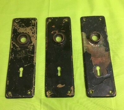 "3 Antique Solid Brass Face Plates With A Key Hope for Door #4430 ~2-1/4""x7-1/8"""