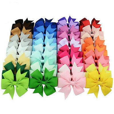 40 Pcs Satin Ribbon Bow Hair Clips Kids Girls Bow Hair Accessories FT