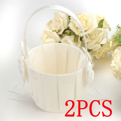 2pcs Ivory Satin Bowknot Pearl Flower Girl Basket for Wedding Ceremony Party