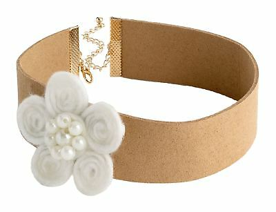 New Ladies Centre White Faux Pearl Flower Design Brown Choker Necklace