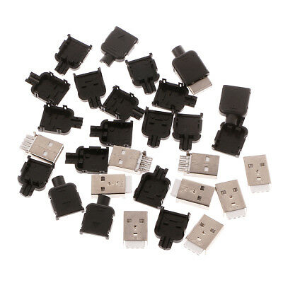 10Sets Type A USB 4 Pin Male Socket Kit Connector Plug Termination Plastic Shell