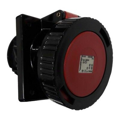 63 AMP WALTHER PANEL ANGLED SOCKET BLK  5 PIN 415v IP67 **FREE DELIVERY**