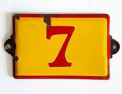 Antique Vintage French Enamel Porcelain Door House Gate Number Sign Plate 7