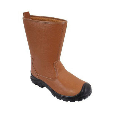 Fur Lined Rigger Safety Boots Tan Colour Steel Toe Caps & Midsole (SBU01)
