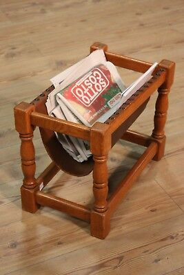 Magazine rack wooden paint oak living room small table furniture antique style