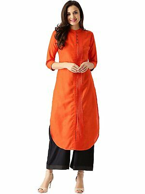 Women's Casual Cotton Straight Kurta Side pleated Tunic Banded Collar Size S-7XL