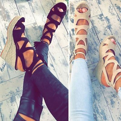 b117b10de5 Womens Ladies Espadrille Wedge Sandals Strappy Summer Lace Up Platforms  Shoes UK