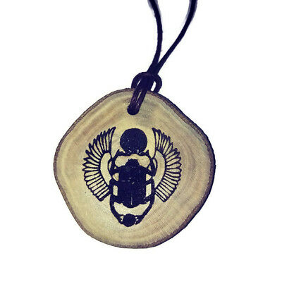 Scarab Beetle  Egyptian Deities God Necklace Wooden Charm Handmade Pendant
