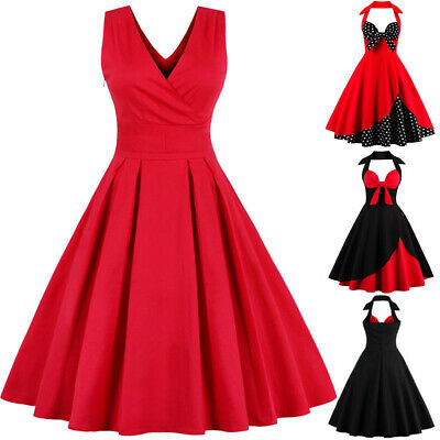 UK Plus Size Women 1950s Vintage Rockabilly Style Retro Evening Prom Swing Dress