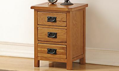 Rustic Oak 3 Drawer Bedside Table  - STOCK CLEARANCE PRICES!