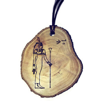 Isis Goddess Hieroglyph Symbol Egyptian Necklace Wooden Charm Handmade Engraved