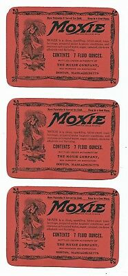 MOXIE Three Original 7 Fluid Ounce Labels The Moxie Company Boston Massachusetts