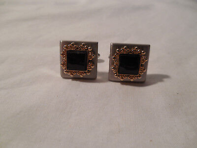 Vintage onyx w/gold & silver tone men's cufflinks crown makers mark