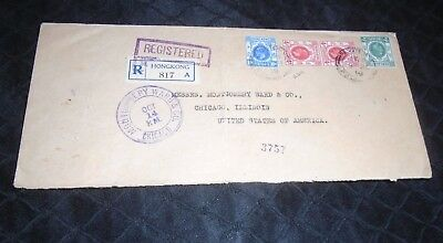 Registered Hong Kong China Cover to Chicago USA 1919 George V