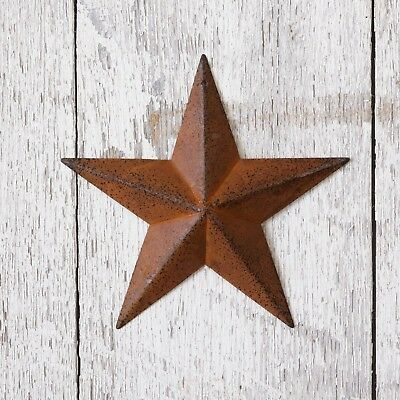 """Set Of 4 Rusty Americana Metal Barn Stars 5.5"""" Wide Country Rust Colored"""