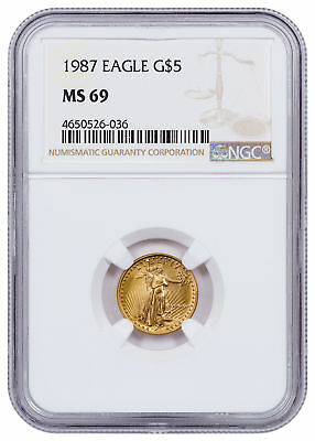 1987 1/10 oz Gold American Eagle $5 NGC MS69 SKU21032