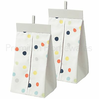 2 x IKEA DROMLAND Nappy Stackers 30x52x22cm (White/Multicoloured Dots)