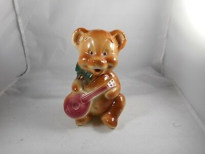 Vintage Rare Royal Copley Teddy Bear with Mandolin Planter Vase