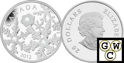 2012 Crystalized Holiday Snowstorm Prf $20 Silver Coin .9999 Fine (NT) (13078)