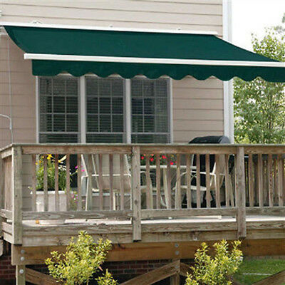 ALEKO Retractable Patio Awning 12 X 10 Ft Deck Sunshade Green Color
