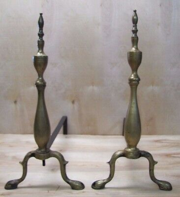 Antique Brass ANDIRONS Nicely Fetailed Finial Spun Tops Old Pair Fireplace Tools
