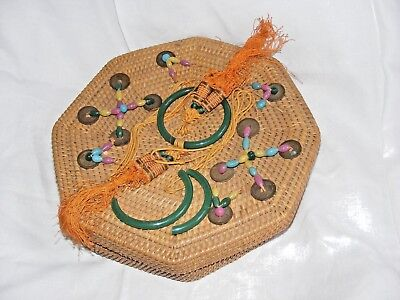 Vintage Chinese Woven Wicker Sewing  Basket Decorated Beads Rings Coins Tassles