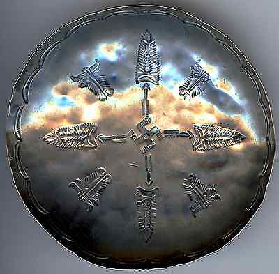 Vintage Navajo Indian Silver Stamped Buffalo Whirling Log Arrowheads Small Bowl