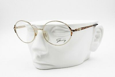 Genny 587 5025 frame Italy, Oval large eyeglasses frame golden with animalier
