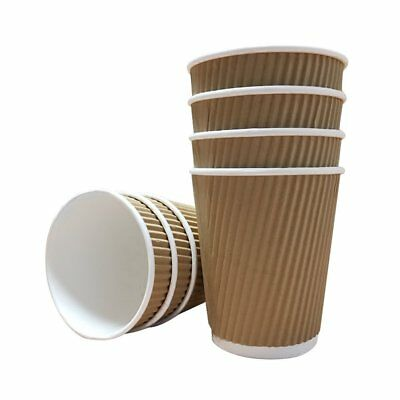 500 x 16oz KRAFT 3-PLY RIPPLE DISPOSABLE PAPER COFFEE CUPS - UK MANUFACTURER