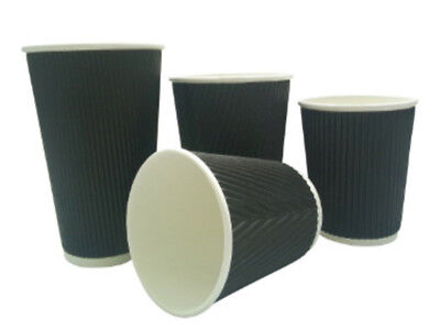 200 x 8oz BLACK 3-PLY RIPPLE DISPOSABLE PAPER COFFEE CUPS - UK MANUFACTURER