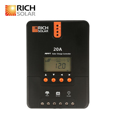 RICH SOLAR 20A 12V/24V DC MPPT Solar Charge Controller for Battery Regulator