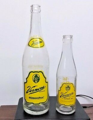 Vintage Two Vernor's Soda Bottles 24 Oz & 8 Oz