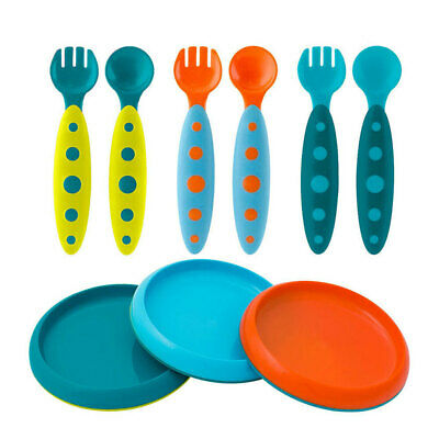 Boon 9pc Feeding Dinner Plate Set 9m+ Baby/Kids/Cutlery Fork/Spoon PVA/BPA Free