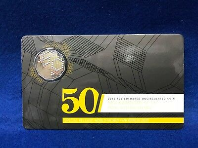 2015 50th anniversary of the Royal Australian Mint coloured 50c carded
