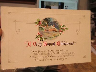 Victorian Era Old Antique MERRY CHRISTMAS Holiday Postcard Love Peace Happiness