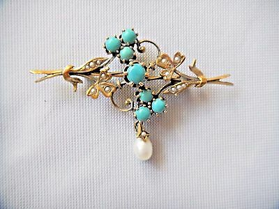 Antique Victorian Art Nouveau 14K Gold Turquoise Seed Pearl Brooch Pin