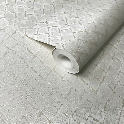 Modern Non-Woven Wallpaper white metallic textured diamonds plain embossed rolls