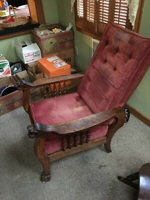 Antique Morris Chair  Recliner Wood Metal