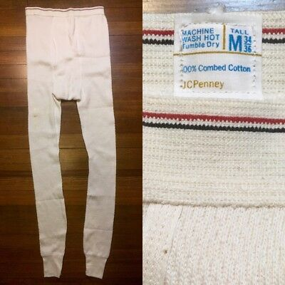 Deadstock Vintage Thermal Long Underwear 1970s 70s JCPenney M Tall Ivory Waffle