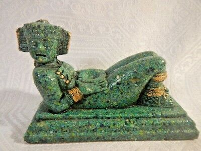 Vintage Mexico Mayan Statue Malachite crushed Statue