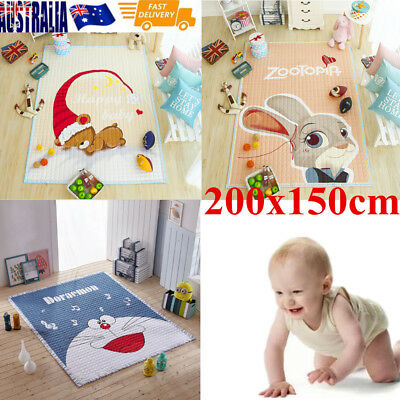 2X1.5M Kids Game Play Mat Baby Crawling Rug Carpet Cotton Animal Blanket Playmat